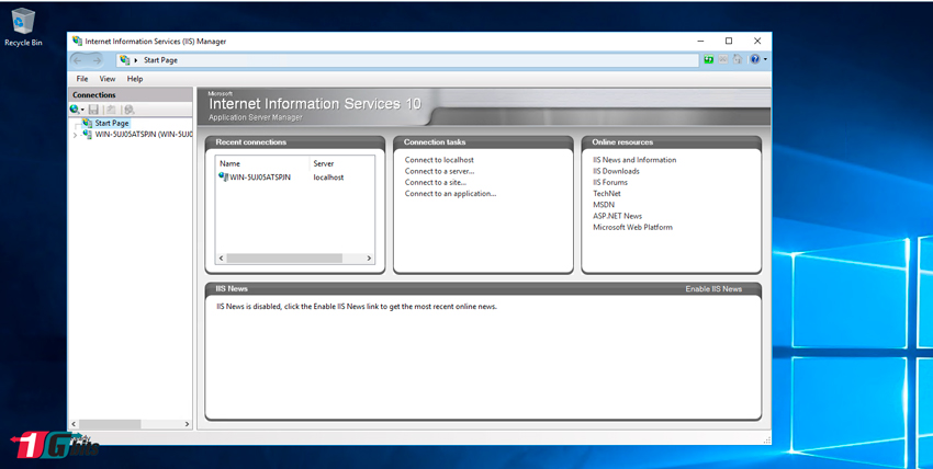 install iis manager windows 2016